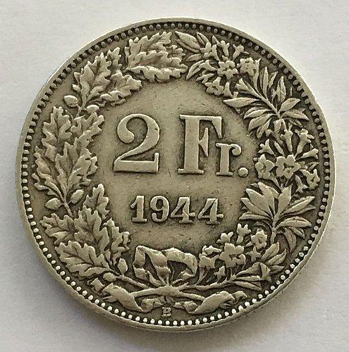 SWITZERLAND 1944 B  2 FRANCS SILVER