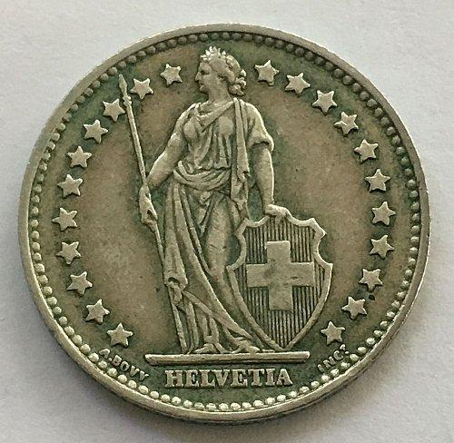 SWITZERLAND 1958 B  1 FRANC SILVER TONED