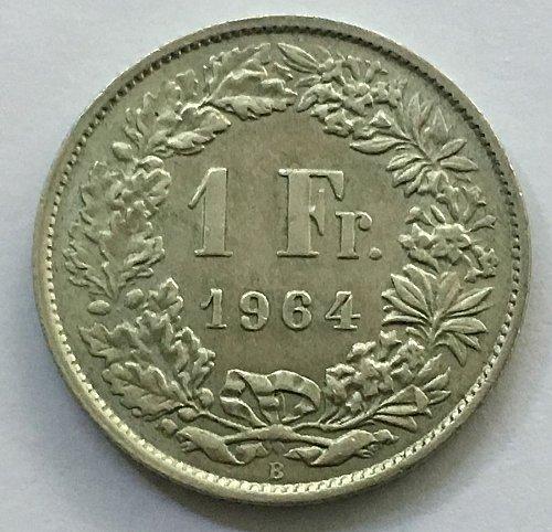 SWITZERLAND 1964 B  1 FRANC SILVER