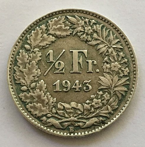 SWITZERLAND 1943 B  1/2 FRANC SILVER TONED