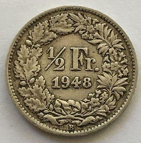 SWITZERLAND 1948 B  1/2 FRANC SILVER