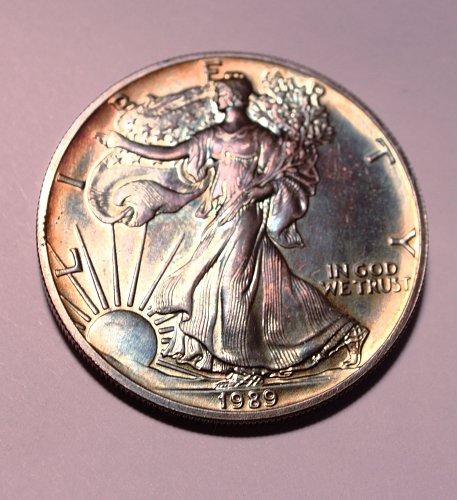 1989 American Silver Eagle Beautiful rainbow toning