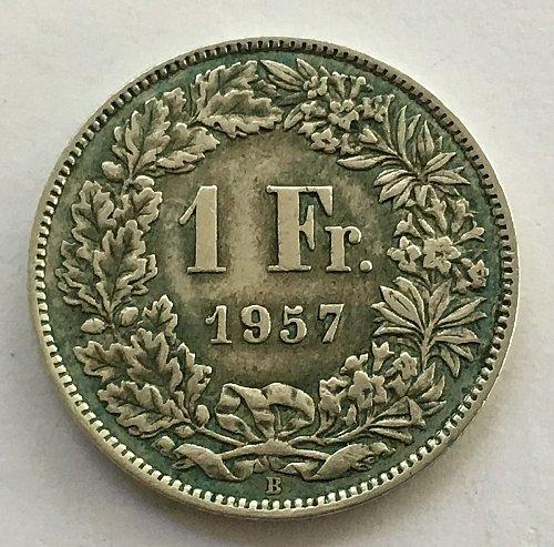 SWITZERLAND 1957 B  1 FRANC SILVER