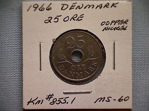 1966 DENMARK TWENTY-FIVE ORE
