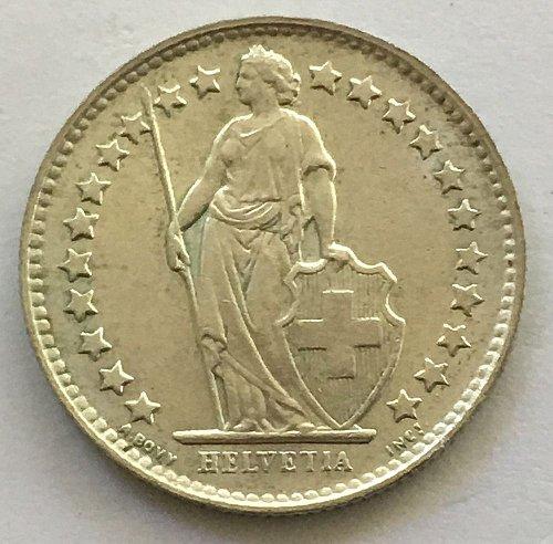 SWITZERLAND 1956 B  1/2 FRANC SILVER