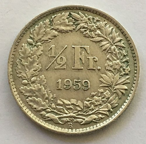 SWITZERLAND 1959 B  1/2 FRANC SILVER