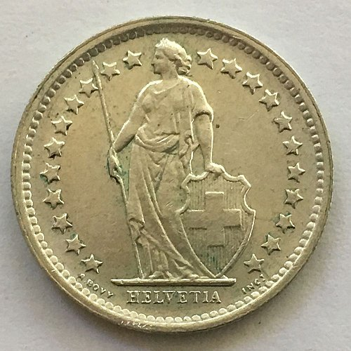 SWITZERLAND 1965 B  1/2 FRANC SILVER