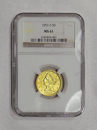 1853-D NGC MS61 $5 gold, pretty honey gold luster, RARE Mint State DAHLONEGA GOL