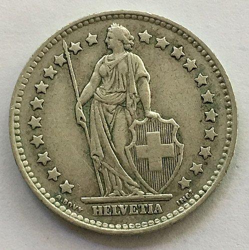 SWITZERLAND 1958 B  1 FRANC SILVER