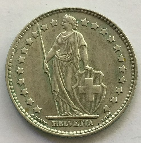 SWITZERLAND 1962 B  1 FRANC SILVER