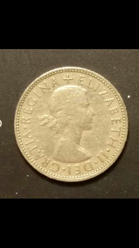 1959 two shillings(lamination error)