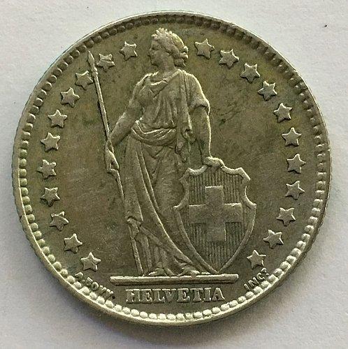 SWITZERLAND 1962 B  1 FRANC SILVER TONED
