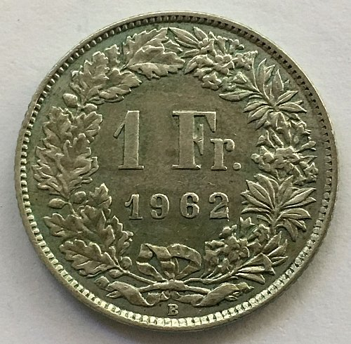 SWITZERLAND 1962 B  1 FRANC SILVER TONED
