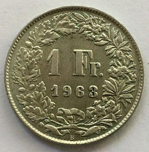 SWITZERLAND 1963 B  1 FRANC SILVER