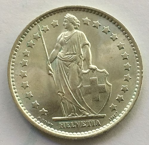 SWITZERLAND 1967 B  1 FRANC SILVER