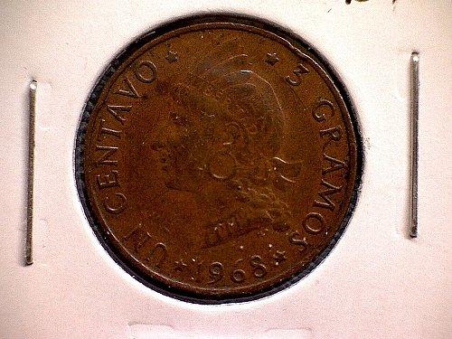 1968 DOMINICAN REPUBLIC ONE CENTAVO