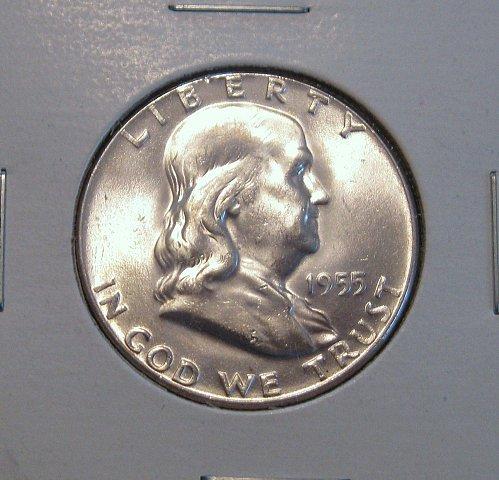 1955 P Franklin Half Dollar Genuine US Coin, BU Key Date