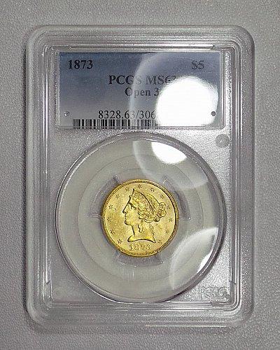 1873 PCGS MS63 Liberty half eagle $5 gold, RARE & LUSTROUS EYE APPEALING GEM