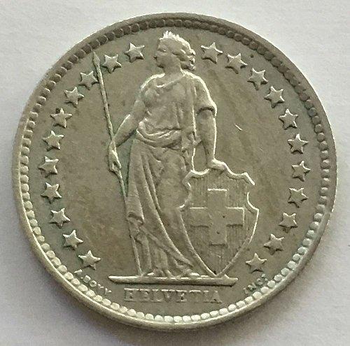 SWITZERLAND 1963 B  1/2 FRANC SILVER