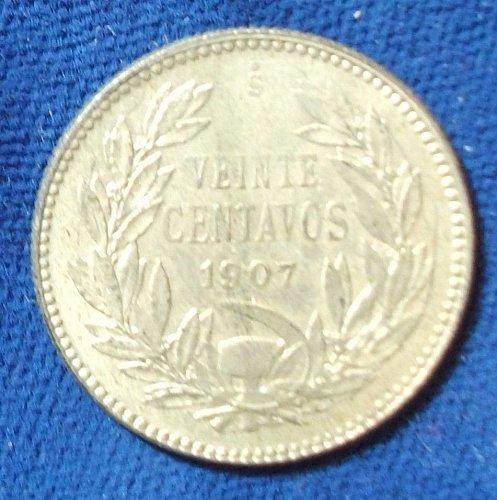1907 Chile 20 Centavos XF-AU