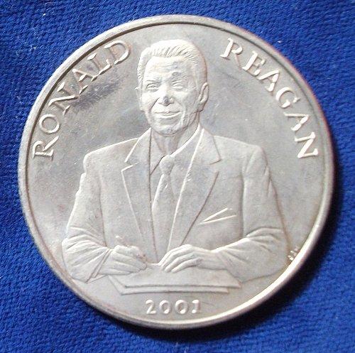 2001 Liberia Ten Dollars BU, Ronald Reagan