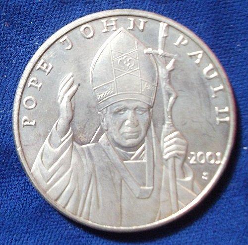 2001 Liberia 10 Dollars BU, Pope John Paul II