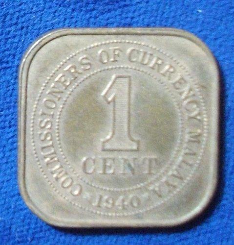 1940 Malaya Cent AU+