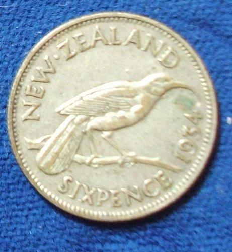 1934 New Zealand Sixpence VF/XF