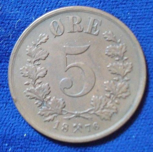 1876 Norway 5 Ore VF