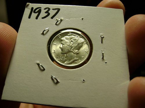 1937 MS Mint State Mercury Dime Full Split Bands Free Shipping