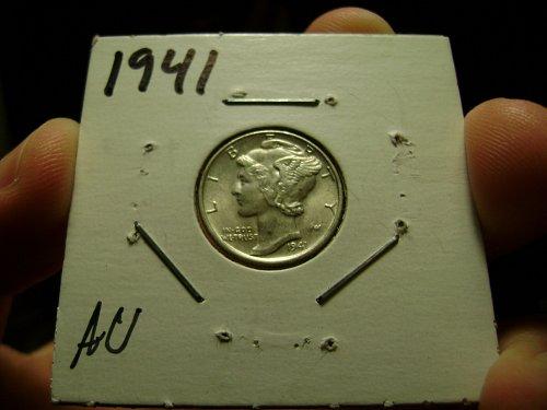1941 AU Mercury Dime Free Shipping