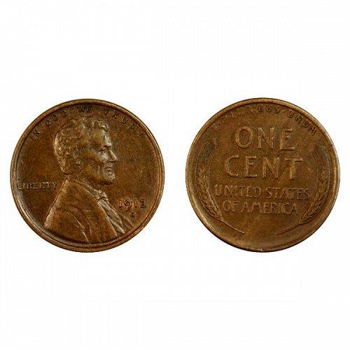 1913 S Lincoln Wheat Cent - AU