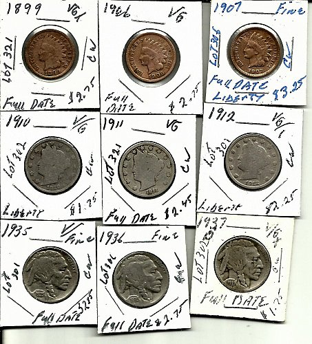 1899 1906 1907 Indian Head///1910  1911 1912 Liberty V Nickels///1935 1936 1937