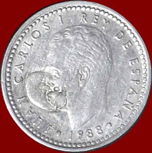 "Errore conio 1 peseta Spagnola Rara ""L'unica"" del RE Juan Carlos I del 1988"