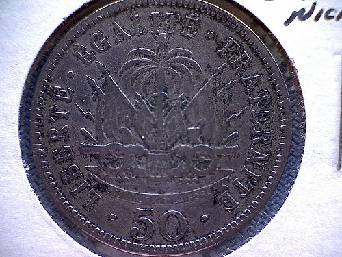 1908W  HAITI  FIFTY CENTIMES