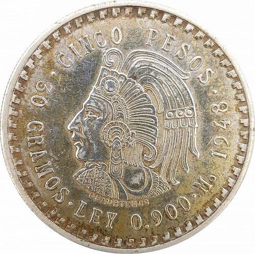 1948 Mexico Silver 5 Pesos Cuauhtemocs