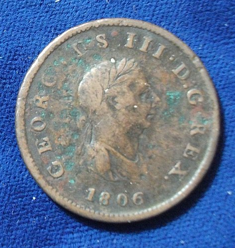 1806 Great Britain Halfpenny F+
