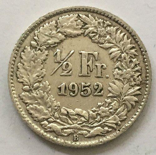 SWITZERLAND 1952 B  1/2 FRANC SILVER