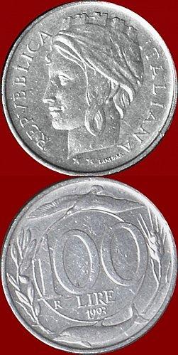 Moneta Italiana RARA 100 Lire del 1993 tipo Turrita  , Variante Testa Piccola -