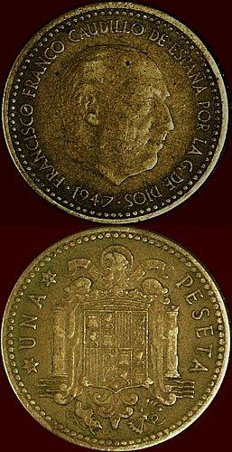 1 peseta Rara del 1947 (54) tempo di Francisco Franco, caudillo di spagna