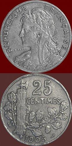Bellissimo DESIGN Laureate 25 centesimi francese del 1905