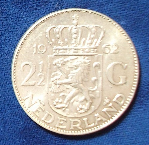 1962 Netherlands 2 1/2 Gulden AU