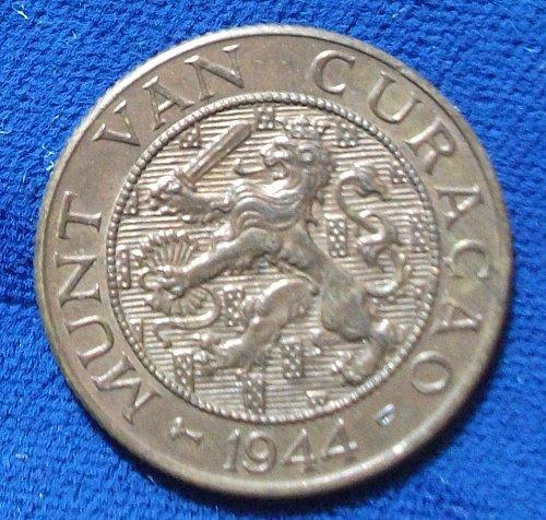1944D Curacao 2 1/2 Cents AU