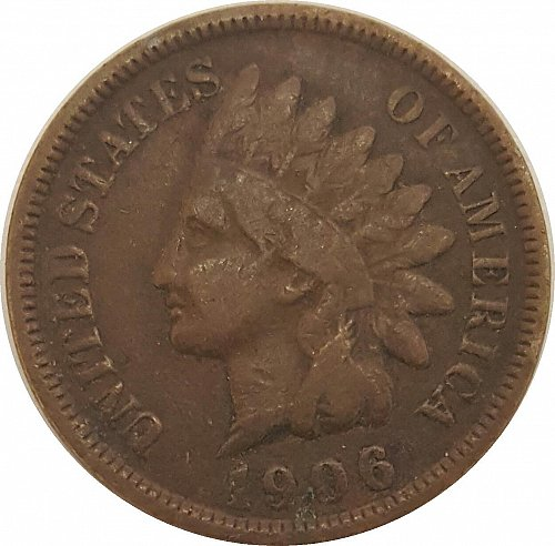 1906 P Indian Head Cent Small Cents Bronze Oak Wreath With Shield