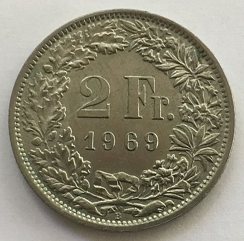SWITZERLAND 1969 B  2 FRANCS