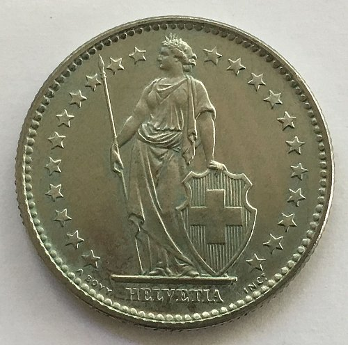 SWITZERLAND 1973 2 FRANCS
