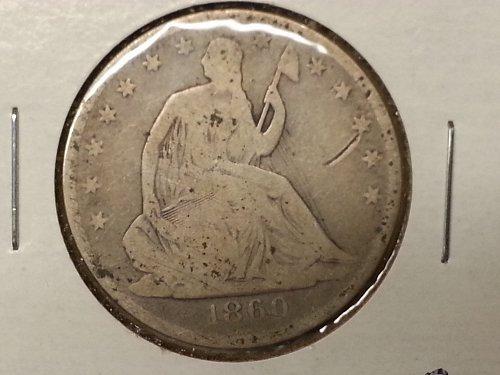 1860-o Seated Liberty Half