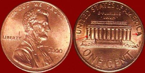 Memoria di LincoIn anno 2000 La moneta ha nella faccia del  rovescio un  rombo d