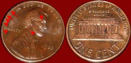 Moneta dell 1988 HA Frattura del conio,,Parte  DALL'OCCHIO DX FINO IL COLLO