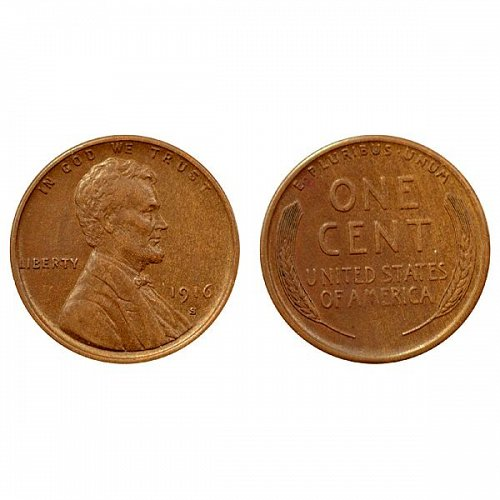 1916 S Lincoln Wheat Cent - AU
